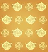 Dikişsiz çay desen — Stok Vektör