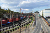 Railroad cars and roads — Stock Photo