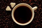 Filiżanka do kawy, kawa i cukru — Zdjęcie stockowe