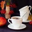 Cup of tea, apple and berries — Stock Photo