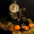 Glasses of champagne, tangerines and Watches — Stock Photo