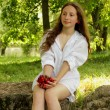 Sweet girl holding a handful of ripe cherry — Stock Photo #37785511
