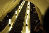 Working escalator in the metro — Stock Photo