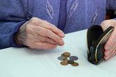 руки пожилой бабушки, считая копейки в кошельке — Стоковое фото