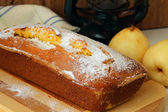 Sponge cake made with cornmeal and pears — Stock Photo