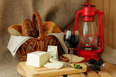 Still life with homemade cheese, cheese and wine — Stok fotoğraf