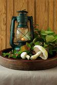 Still life with mushrooms and  flashlight — ストック写真