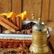 Pepper mill and various spices — Stock Photo #46538883