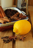 Lemon grater and various spices — Photo