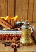 Pepper mill and various spices — Stok fotoğraf