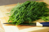 Dill on a cutting board — Stock Photo