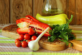 Ripe vegetables on the board — Stock Photo
