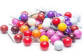 Colourful Thumbtacks on white background — Stock Photo