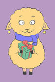 Charming lamb with a present — Stock Vector