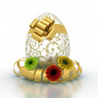 Decorated gift easter egg with daisies isolated in white backgro — Stock Photo