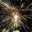 Firework with green smoke — Stock Photo