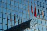 Five flags and their reflections in building — Foto de Stock