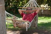 Self-portrait of man with goatee in hammock — Stock Photo