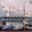 Sunset at the port — Stock Photo