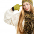 Smiling woman in green winter clothing — Stock Photo