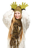 Smiling woman joking like santa deer — Stock Photo