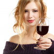 Beautiful woman with glass of red wine — Stock Photo