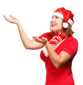 Smiling woman in santa hat — Stock Photo