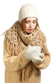 Young woman in warm clothing with mug — ストック写真