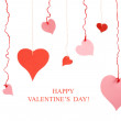 Different shape red and pink valentine paper hearts — Stock Photo