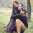 Stock Photo: Loving couple hugging in park