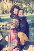 Loving couple hugging in the park — Foto Stock