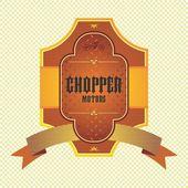 Chopper motorcycle label — Vecteur