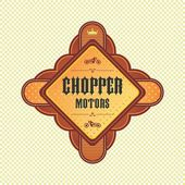 Chopper motorcycle label — Vecteur