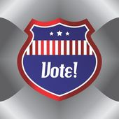 Shield vote election theme label — Vettoriale Stock