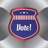 Shield vote election theme label — Wektor stockowy