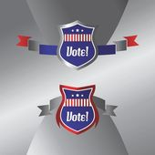 Shield vote election theme label — Stockvector
