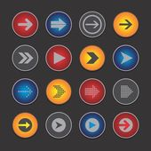 Arrow media icon button — Stock Vector