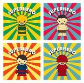 Cartoon superhero game theme — Stock Vector