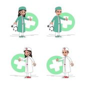 Doctor and surgeon cartoon character — Stock Vector