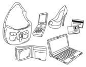 Woman habit shopping — Stok Vektör