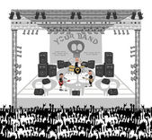 Live show stage band — Stock Vector