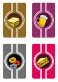 All fast food card set — Vetorial Stock