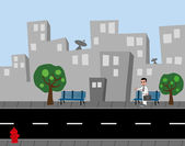 Cartoon city street art — Stock Vector