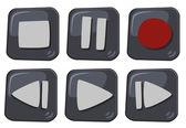 マルチ メディア ボタン — ストックベクタ