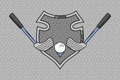 Golf heraldry cartoon — Stock Vector