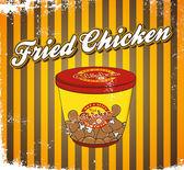 Fried chicken in take away bucket — Stock Vector