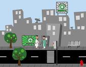 Hospital doctor street city — Stock Vector