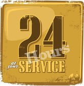 24 hours service sign — Stock Vector