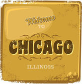 Chicago america touristic greeting advertising sign — Stock Vector