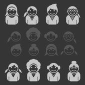 Black reverse avatars — Stock Vector